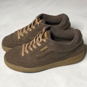 VANS SKATEBOARD BROWN LEATHER MEN'S  SHOES SZ:8
